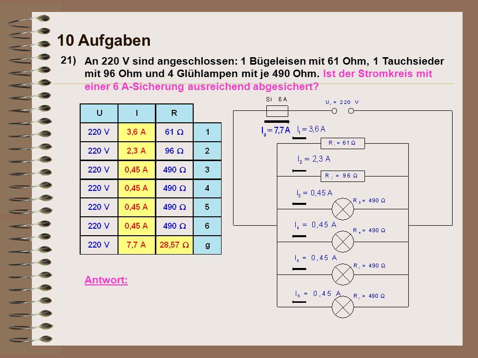 21) 10 Aufgaben Antwort: An 220 V sind angeschlossen: 1 Bügeleisen mit 61 Ohm, 1 Tauchsieder mit 96 Ohm und 4 Glühlampen mit je 490 Ohm. Ist der Strom