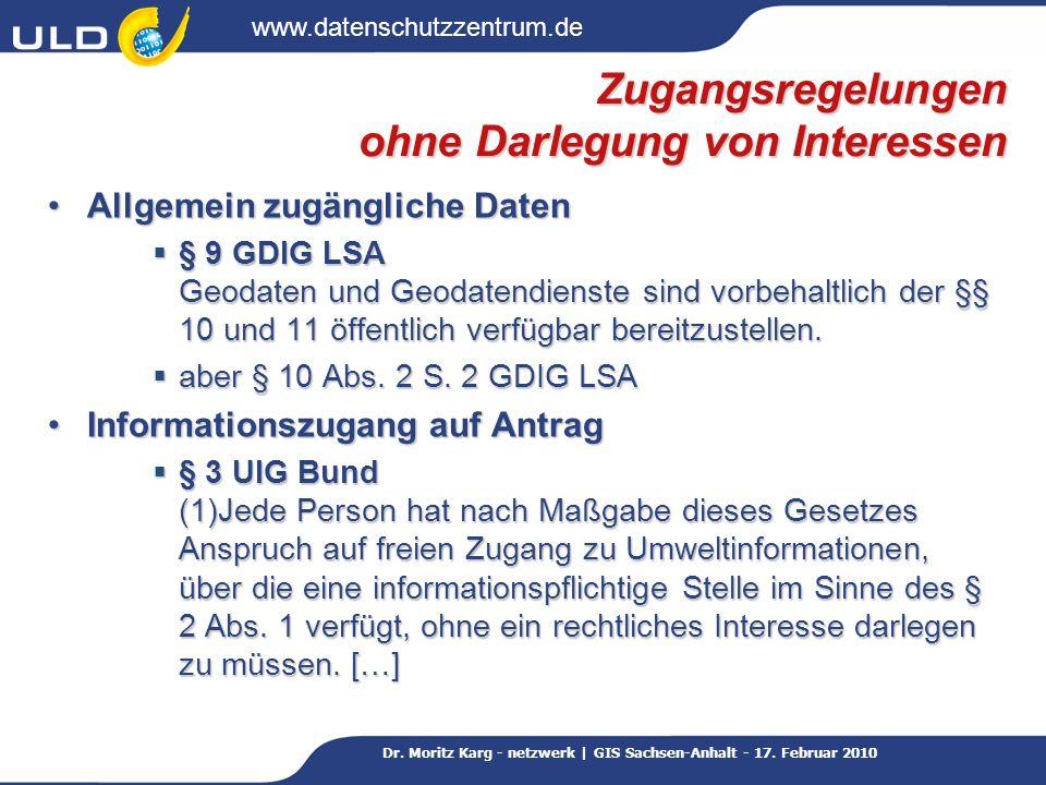 www.datenschutzzentrum.de Dr.Moritz Karg - netzwerk | GIS Sachsen-Anhalt - 17.