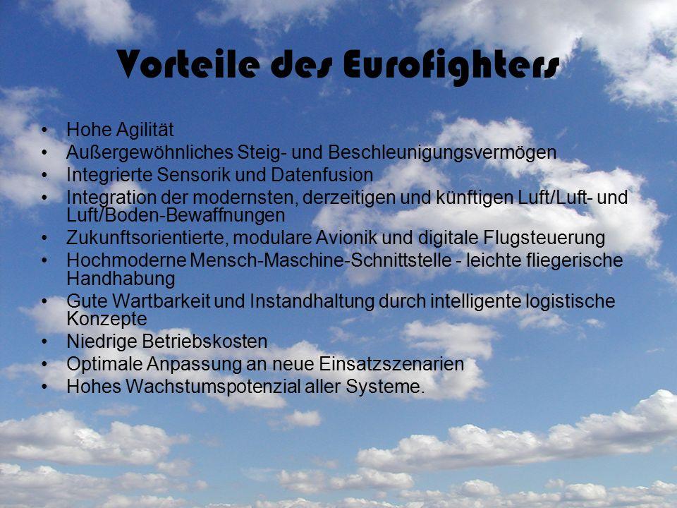 Vorteile des Eurofighters Hohe Agilität Außergewöhnliches Steig- und Beschleunigungsvermögen Integrierte Sensorik und Datenfusion Integration der mode