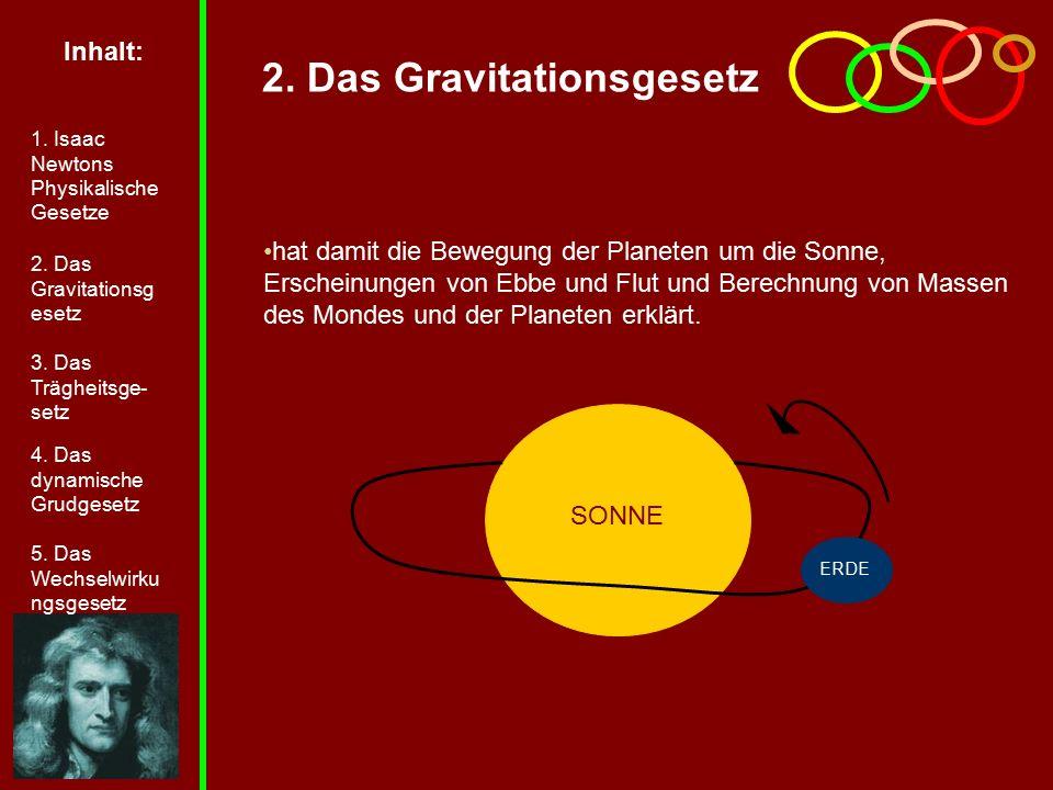 2. Das Gravitationsgesetz hat damit die Bewegung der Planeten um die Sonne, Erscheinungen von Ebbe und Flut und Berechnung von Massen des Mondes und d