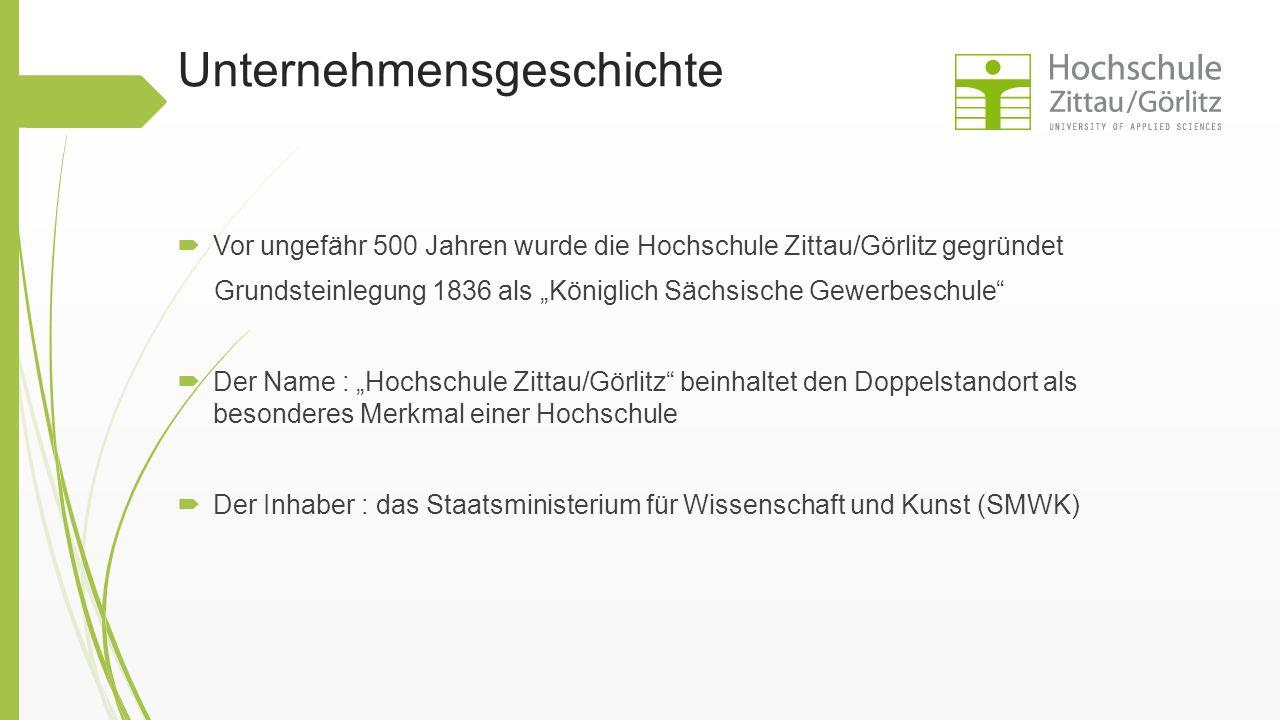 """Unternehmensgeschichte  Vor ungefähr 500 Jahren wurde die Hochschule Zittau/Görlitz gegründet Grundsteinlegung 1836 als """"Königlich Sächsische Gewerbe"""