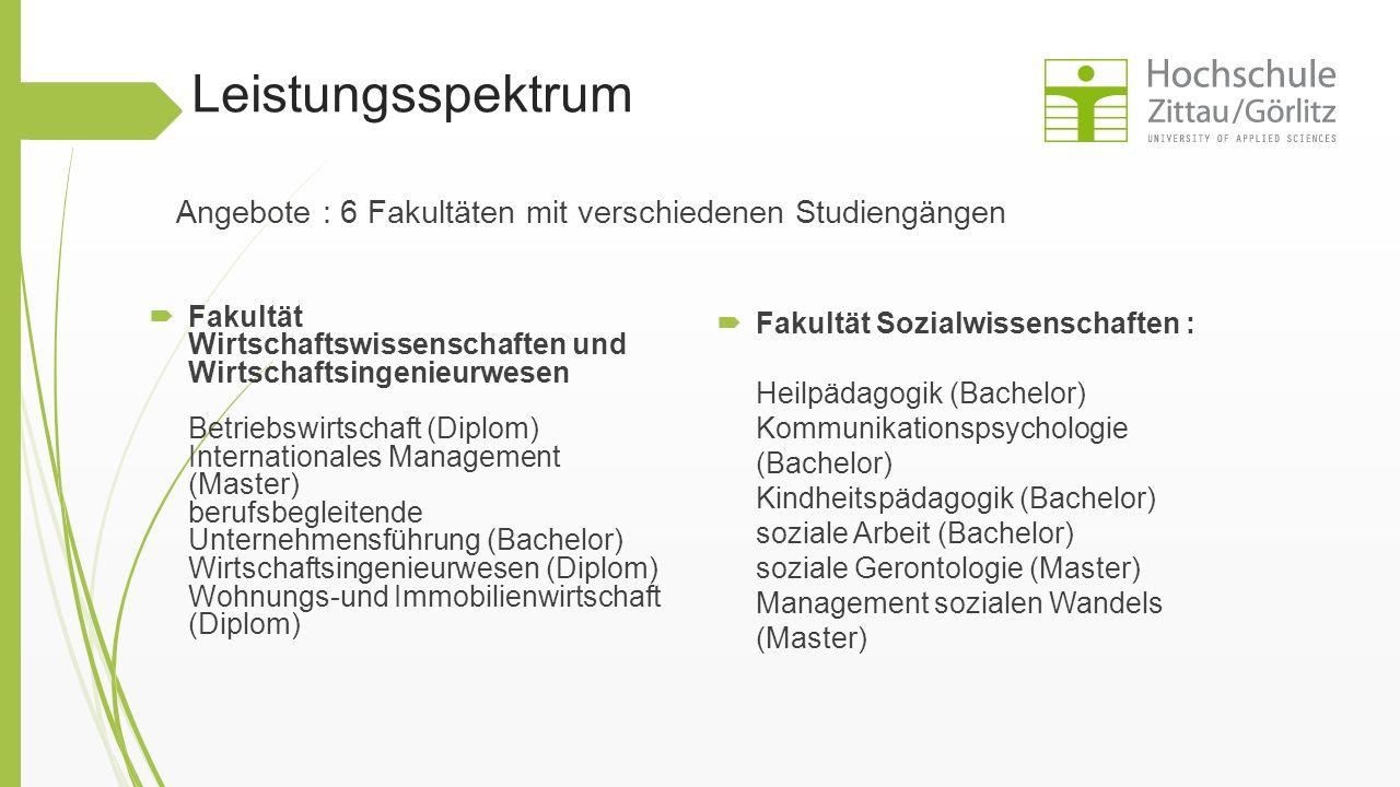 Leistungsspektrum  Fakultät Wirtschaftswissenschaften und Wirtschaftsingenieurwesen Betriebswirtschaft (Diplom) Internationales Management (Master) b