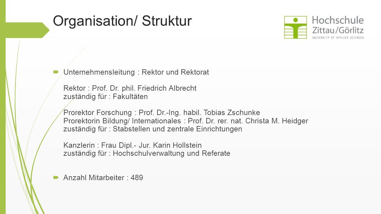 Organisation/ Struktur  Unternehmensleitung : Rektor und Rektorat Rektor : Prof. Dr. phil. Friedrich Albrecht zuständig für : Fakultäten Prorektor Fo