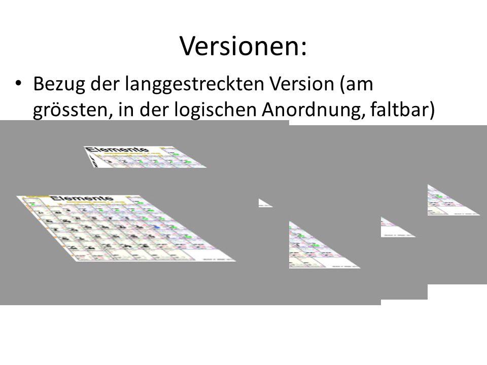 Versionen: Bezug der langgestreckten Version (am grössten, in der logischen Anordnung, faltbar).
