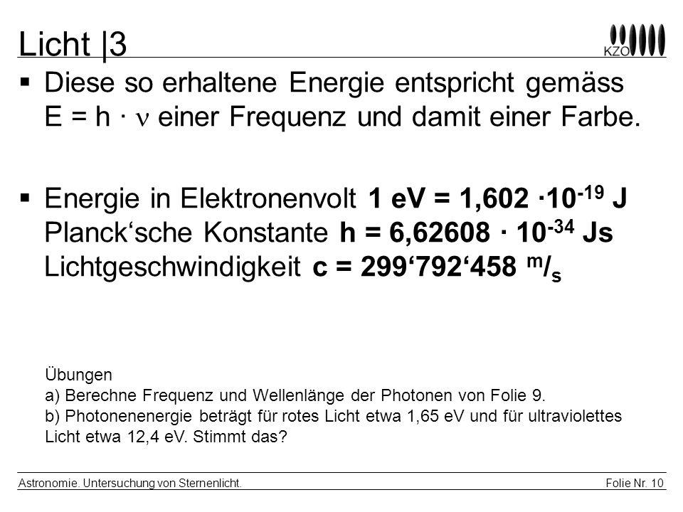 Folie Nr. 10 Astronomie. Untersuchung von Sternenlicht. Licht  3  Diese so erhaltene Energie entspricht gemäss E = h · einer Frequenz und damit einer
