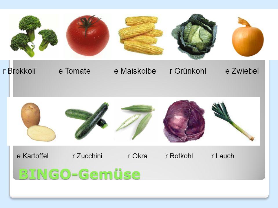 BINGO-Gemüse r Brokkolie Tomatee Maiskolber Grünkohle Zwiebel e Kartoffelr Zucchinir Okra r Rotkohlr Lauch