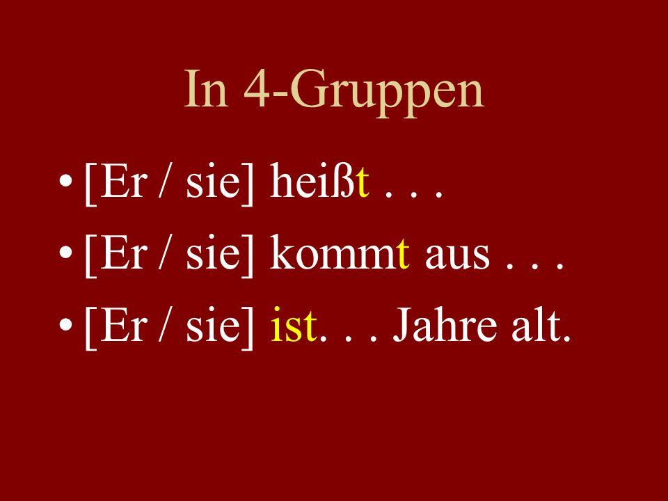 In 4-Gruppen [Er / sie] heißt... [Er / sie] kommt aus... [Er / sie] ist... Jahre alt.