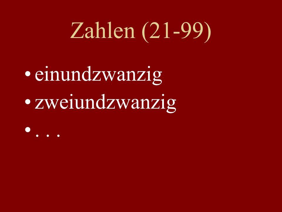 Zahlen (21-99) einundzwanzig zweiundzwanzig...
