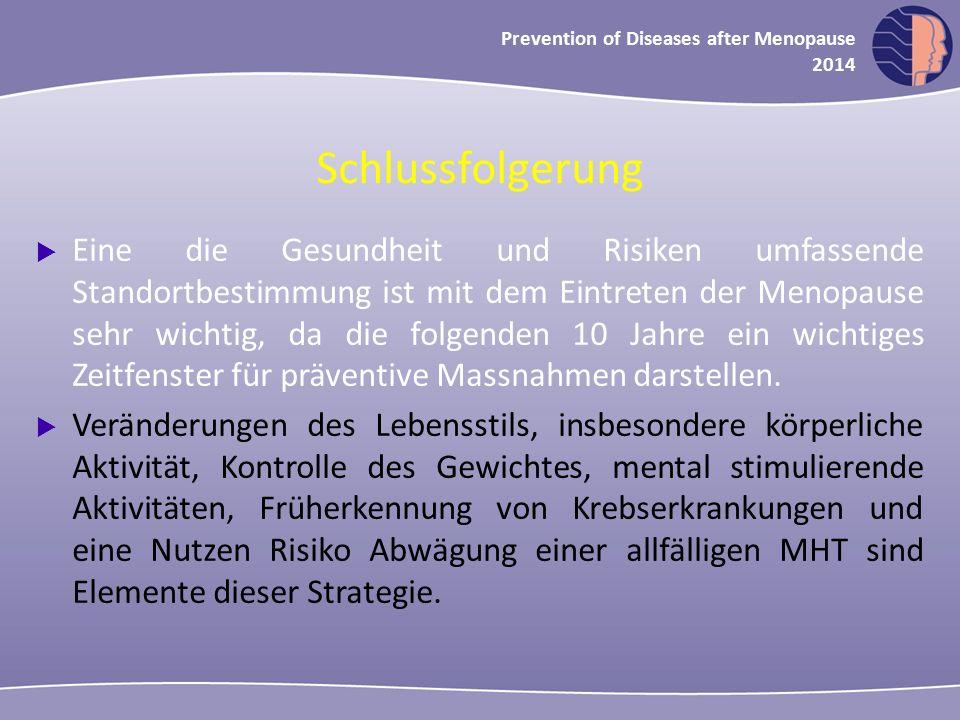 Oncology in midlife and beyond 2013 Prevention of Diseases after Menopause 2014 Schlussfolgerung  Eine die Gesundheit und Risiken umfassende Standort