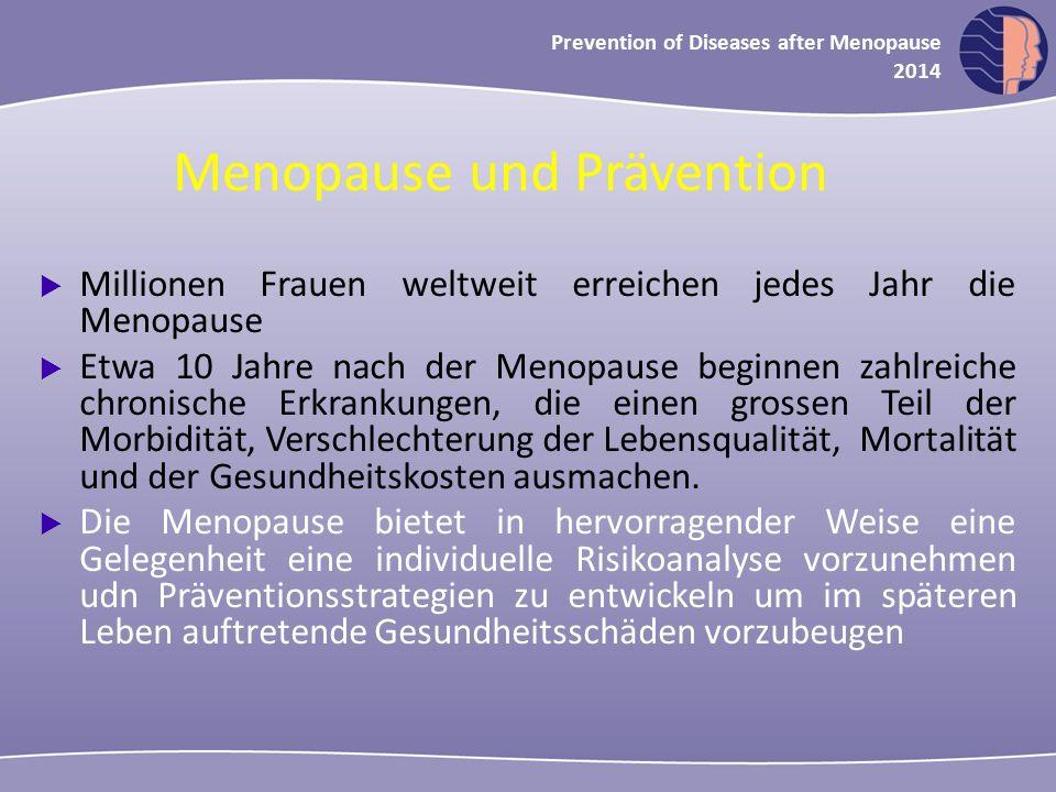Oncology in midlife and beyond 2013 Prevention of Diseases after Menopause 2014  Millionen Frauen weltweit erreichen jedes Jahr die Menopause  Etwa 10 Jahre nach der Menopause beginnen zahlreiche chronische Erkrankungen, die einen grossen Teil der Morbidität, Verschlechterung der Lebensqualität, Mortalität und der Gesundheitskosten ausmachen.
