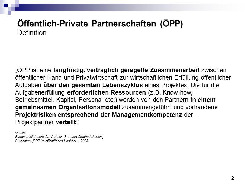 """""""ÖPP ist eine langfristig, vertraglich geregelte Zusammenarbeit zwischen öffentlicher Hand und Privatwirtschaft zur wirtschaftlichen Erfüllung öffentl"""