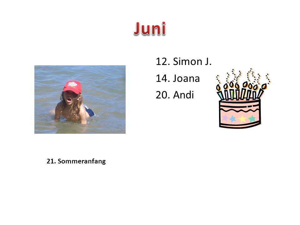 12. Simon J. 14. Joana 20. Andi 21. Sommeranfang