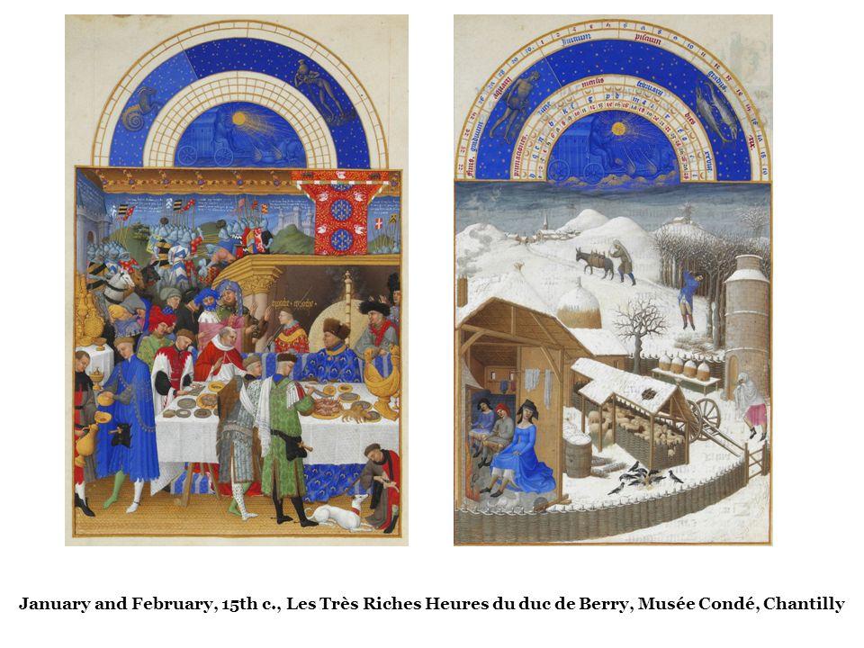 January and February, 15th c., Les Très Riches Heures du duc de Berry, Musée Condé, Chantilly