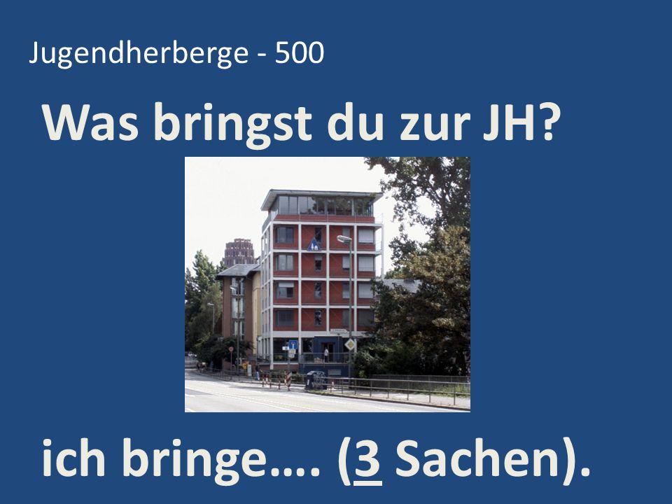 Jugendherberge - 500 Was bringst du zur JH ich bringe…. (3 Sachen).