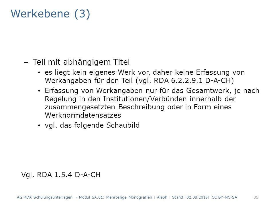 Werkebene (3) – Teil mit abhängigem Titel es liegt kein eigenes Werk vor, daher keine Erfassung von Werkangaben für den Teil (vgl. RDA 6.2.2.9.1 D-A-C