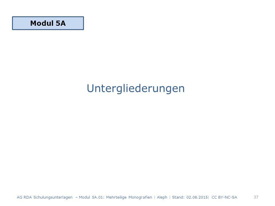 Untergliederungen Modul 5A 37 AG RDA Schulungsunterlagen – Modul 5A.01: Mehrteilige Monografien | Aleph | Stand: 02.08.2015| CC BY-NC-SA