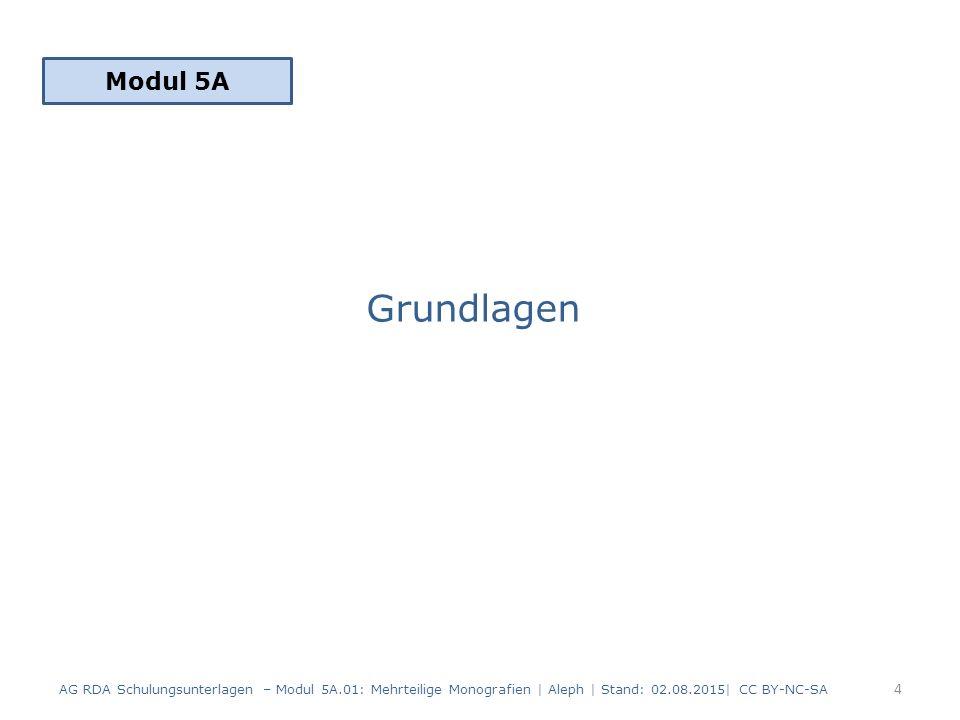 Grundlagen Modul 5A 4 AG RDA Schulungsunterlagen – Modul 5A.01: Mehrteilige Monografien | Aleph | Stand: 02.08.2015| CC BY-NC-SA