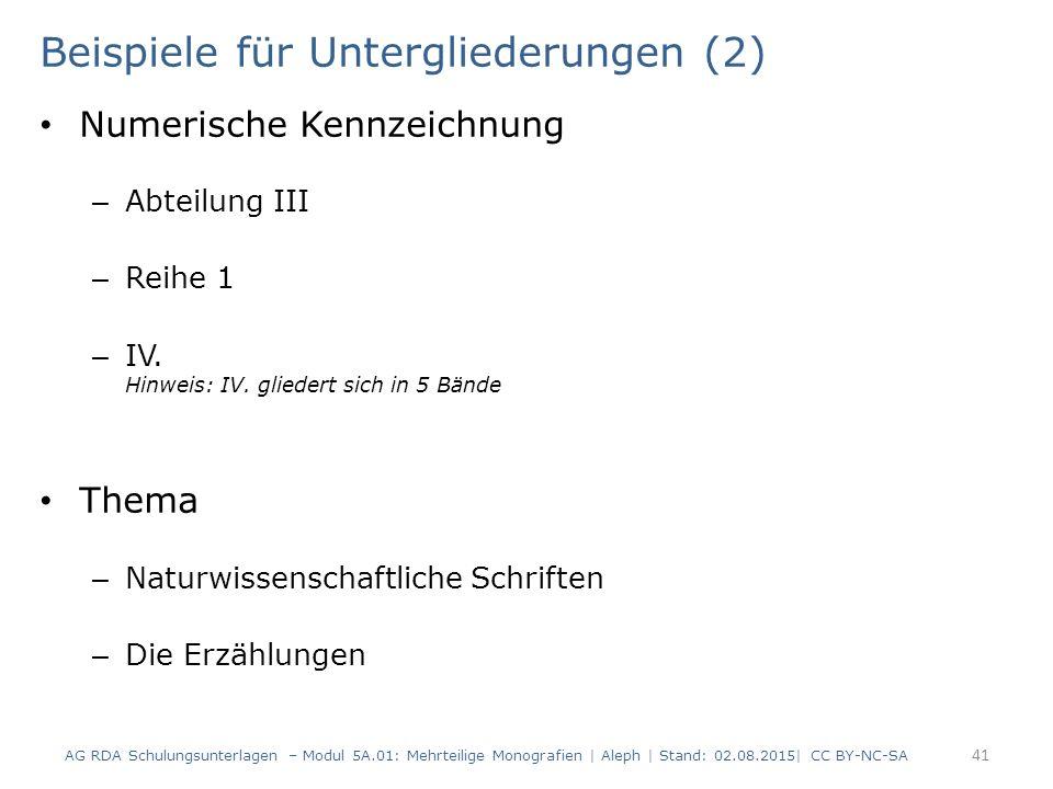 Beispiele für Untergliederungen (2) Numerische Kennzeichnung – Abteilung III – Reihe 1 – IV. Hinweis: IV. gliedert sich in 5 Bände Thema – Naturwissen