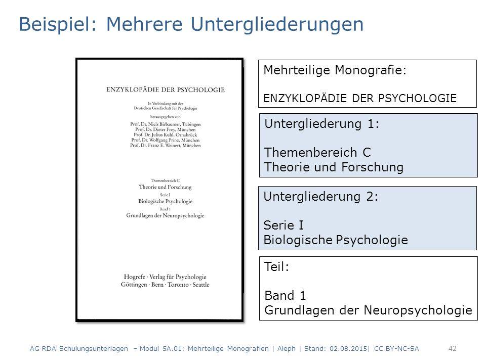 42 Titelblatt(scan) Beispiel: Mehrere Untergliederungen Untergliederung 1: Themenbereich C Theorie und Forschung Untergliederung 2: Serie I Biologisch