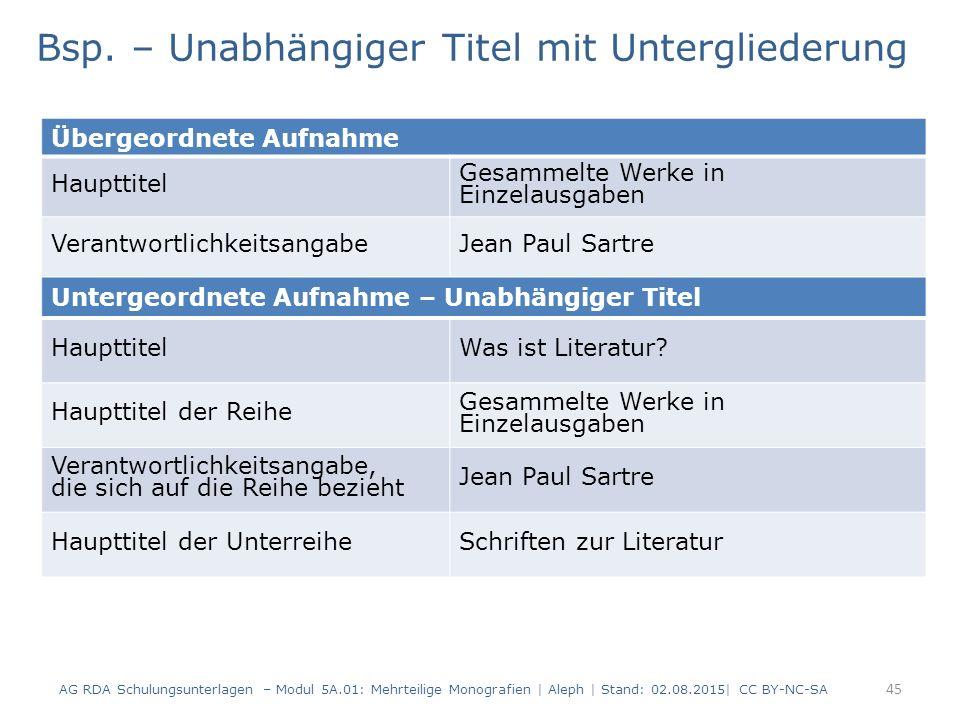 45 Übergeordnete Aufnahme Haupttitel Gesammelte Werke in Einzelausgaben VerantwortlichkeitsangabeJean Paul Sartre Bsp. – Unabhängiger Titel mit Unterg