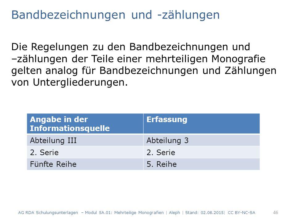 Bandbezeichnungen und -zählungen Die Regelungen zu den Bandbezeichnungen und –zählungen der Teile einer mehrteiligen Monografie gelten analog für Band