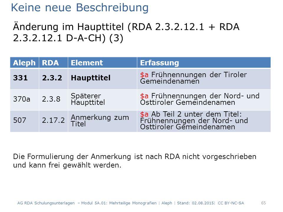 65 AlephRDAElementErfassung 3312.3.2Haupttitel $a Frühnennungen der Tiroler Gemeindenamen 370a2.3.8 Späterer Haupttitel $a Frühnennungen der Nord- und