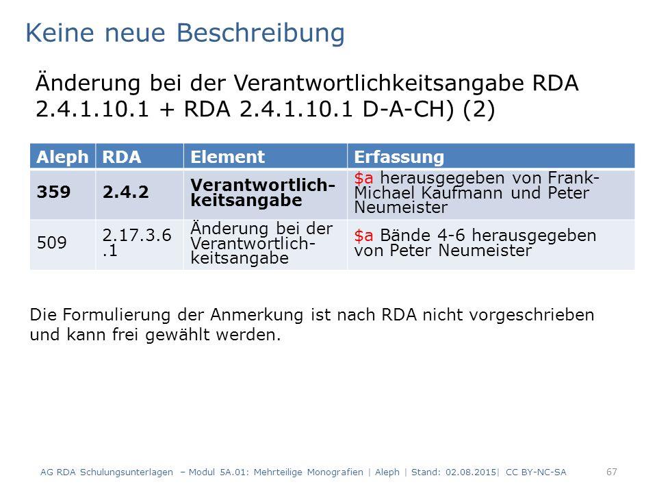 67 AlephRDAElementErfassung 3592.4.2 Verantwortlich- keitsangabe $a herausgegeben von Frank- Michael Kaufmann und Peter Neumeister 509 2.17.3.6.1 Ände