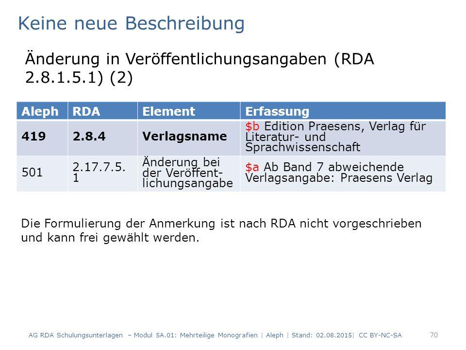 70 AlephRDAElementErfassung 4192.8.4Verlagsname $b Edition Praesens, Verlag für Literatur- und Sprachwissenschaft 501 2.17.7.5. 1 Änderung bei der Ver