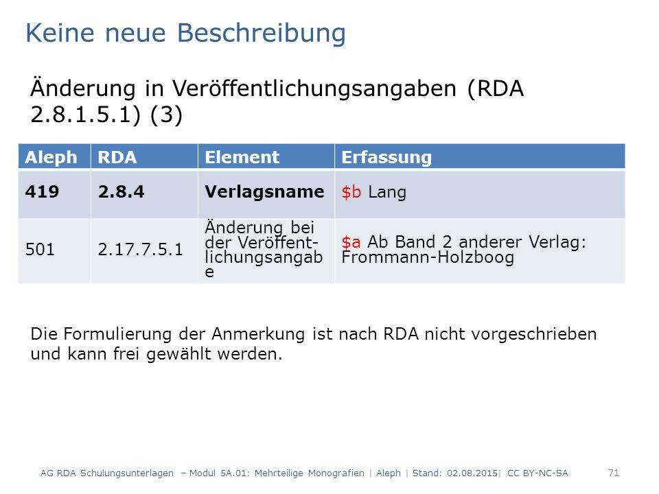 71 AlephRDAElementErfassung 4192.8.4Verlagsname$b Lang 5012.17.7.5.1 Änderung bei der Veröffent- lichungsangab e $a Ab Band 2 anderer Verlag: Frommann