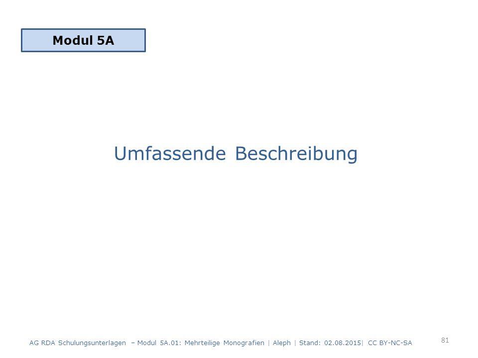 Umfassende Beschreibung Modul 5A 81 AG RDA Schulungsunterlagen – Modul 5A.01: Mehrteilige Monografien | Aleph | Stand: 02.08.2015| CC BY-NC-SA