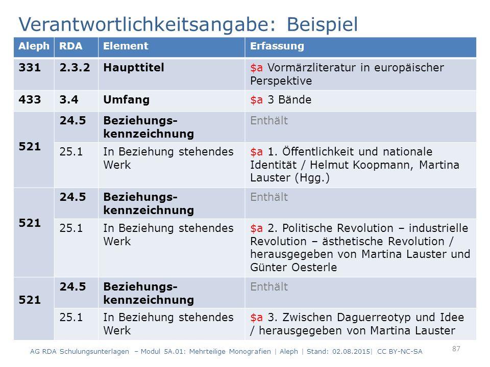 Verantwortlichkeitsangabe: Beispiel 87 AlephRDAElementErfassung 3312.3.2Haupttitel$a Vormärzliteratur in europäischer Perspektive 4333.4Umfang$a 3 Bän