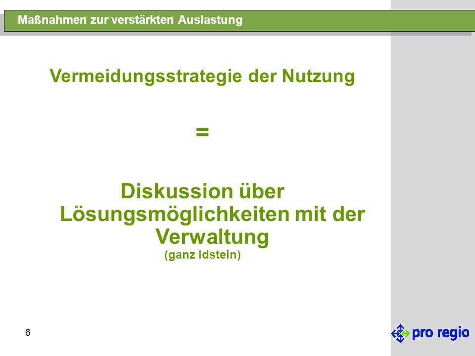 6 Maßnahmen zur verstärkten Auslastung Vermeidungsstrategie der Nutzung = Diskussion über Lösungsmöglichkeiten mit der Verwaltung (ganz Idstein)