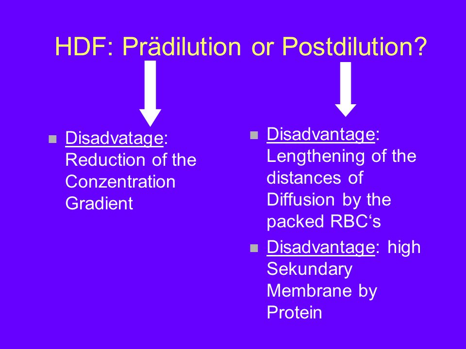 HDF: Prädilution or Postdilution? n Disadvatage: Reduction of the Conzentration Gradient n Disadvantage: Lengthening of the distances of Diffusion by