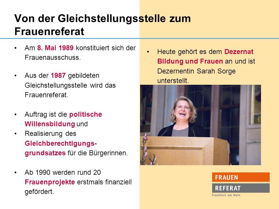 Von der Gleichstellungsstelle zum Frauenreferat Am 8. Mai 1989 konstituiert sich der Frauenausschuss. Aus der 1987 gebildeten Gleichstellungsstelle wi