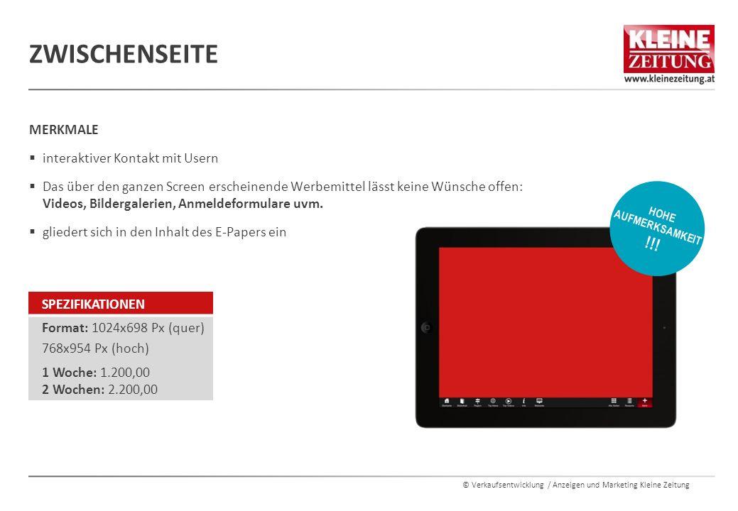 """© Verkaufsentwicklung / Anzeigen und Marketing Kleine Zeitung  Landscape (Querformat) – 1024 x 698 Pixel  Portrait (Hochformat) – 954 x 768 Pixel  Ein Thumbnail (Vorschaubild) für die Ansicht """"Alle Seiten  Bildgröße: 105 * 145, 132 ppi max."""