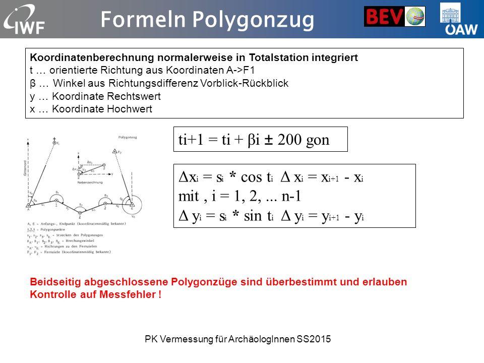 Formeln Polygonzug Koordinatenberechnung normalerweise in Totalstation integriert t … orientierte Richtung aus Koordinaten A->F1 β … Winkel aus Richtungsdifferenz Vorblick-Rückblick y … Koordinate Rechtswert x … Koordinate Hochwert Δx i = s i * cos t i Δ x i = x i+1 - x i mit, i = 1, 2,...