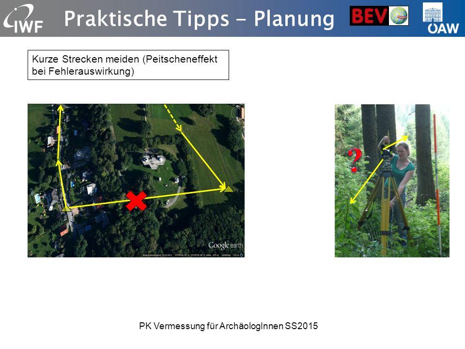 Praktische Tipps - Planung Kurze Strecken meiden (Peitscheneffekt bei Fehlerauswirkung) PK Vermessung für ArchäologInnen SS2015