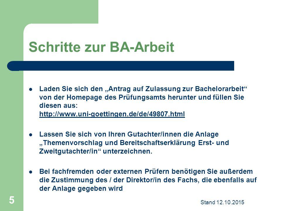 """Schritte zur BA-Arbeit Laden Sie sich den """"Antrag auf Zulassung zur Bachelorarbeit"""" von der Homepage des Prüfungsamts herunter und füllen Sie diesen a"""