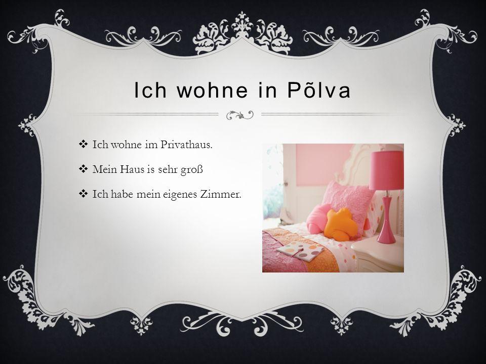 Ich wohne in Põlva  Ich wohne im Privathaus.  Mein Haus is sehr groß  Ich habe mein eigenes Zimmer.