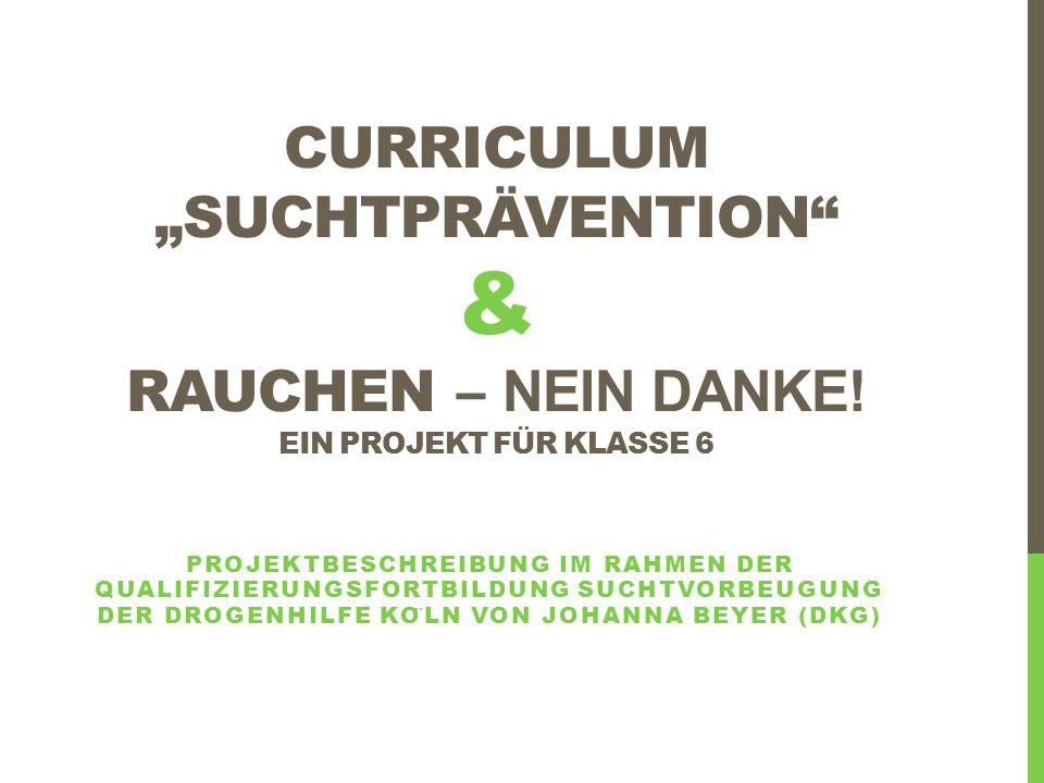 INHALT 1)Analyse der Ausgangssituation am DKG 2)Entwicklung eines Curriculums für die Suchtprävention 3)Projektentwicklung: Rauchen - Nein Danke.