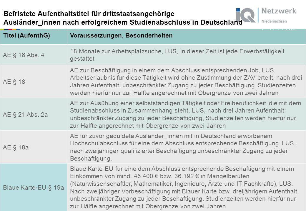 """www.netzwerk-iq.de I © 2011 Netzwerk """"Integration durch Qualifizierung (IQ) Eine Erlaubnis der Ausländerbehörde ist erforderlich, aber die ZAV muss nicht zustimmen."""
