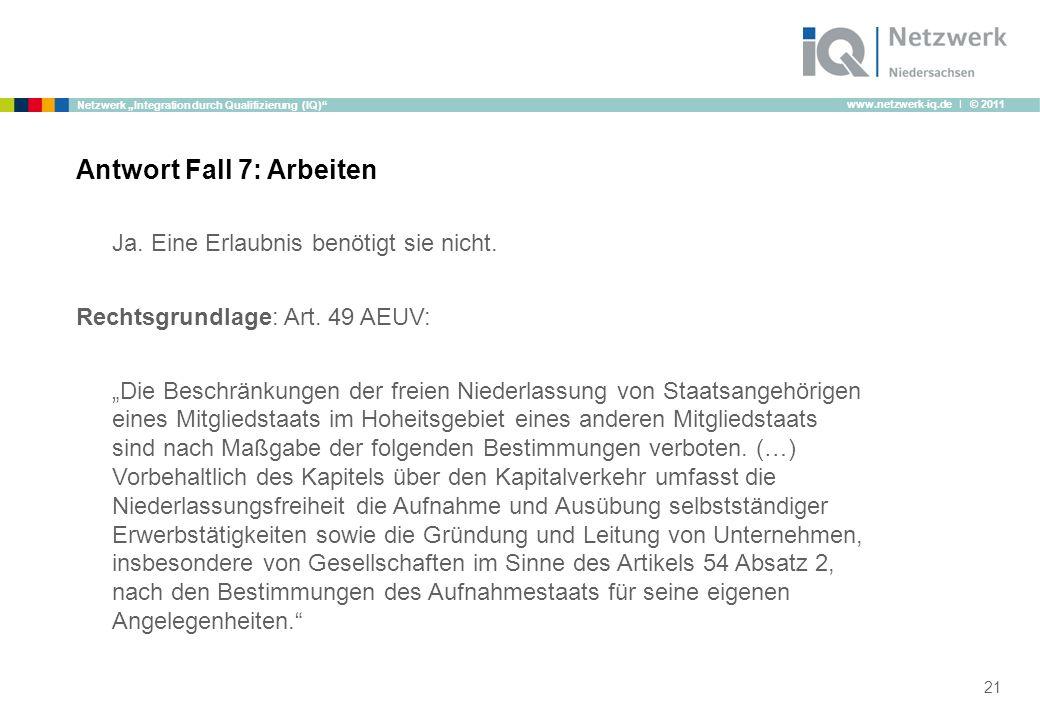 """www.netzwerk-iq.de I © 2011 Netzwerk """"Integration durch Qualifizierung (IQ) Ja."""