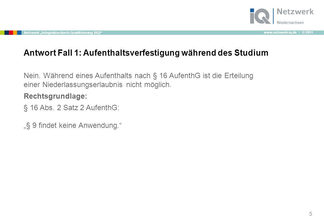"""www.netzwerk-iq.de I © 2011 Netzwerk """"Integration durch Qualifizierung (IQ) Nein."""