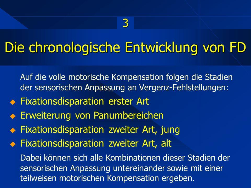 3 Auf die volle motorische Kompensation folgen die Stadien der sensorischen Anpassung an Vergenz-Fehlstellungen: Die chronologische Entwicklung von FD