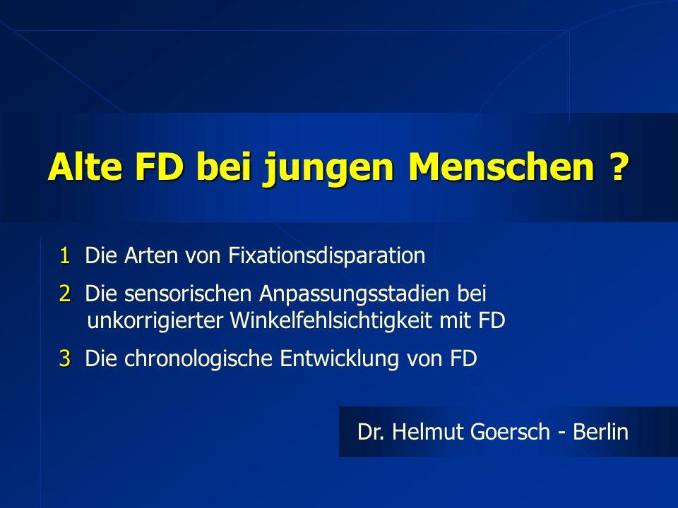 1 1 Die Arten von Fixationsdisparation 2 2 Die sensorischen Anpassungsstadien bei unkorrigierter Winkelfehlsichtigkeit mit FD 3 3 Die chronologische Entwicklung von FD Dr.