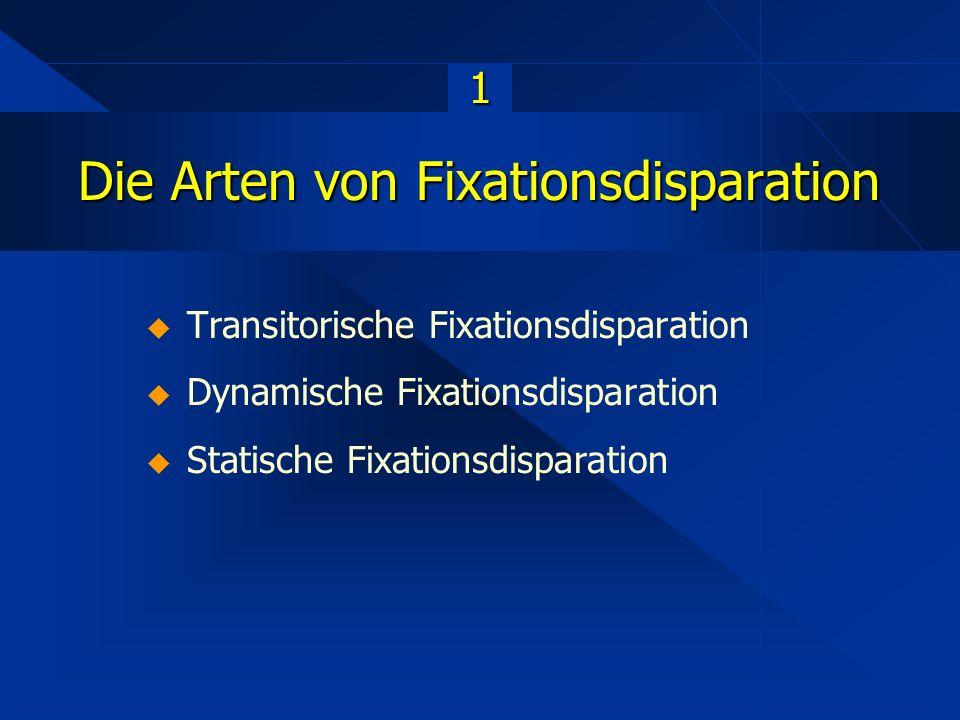 Die Arten von Fixationsdisparation 1  Transitorische Fixationsdisparation  Dynamische Fixationsdisparation  Statische Fixationsdisparation