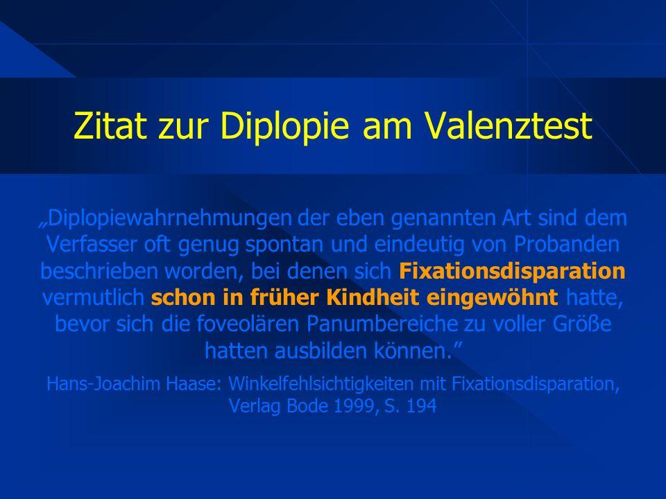 """Zitat zur Diplopie am Valenztest """"Diplopiewahrnehmungen der eben genannten Art sind dem Verfasser oft genug spontan und eindeutig von Probanden beschrieben worden, bei denen sich Fixationsdisparation vermutlich schon in früher Kindheit eingewöhnt hatte, bevor sich die foveolären Panumbereiche zu voller Größe hatten ausbilden können. Hans-Joachim Haase: Winkelfehlsichtigkeiten mit Fixationsdisparation, Verlag Bode 1999, S."""