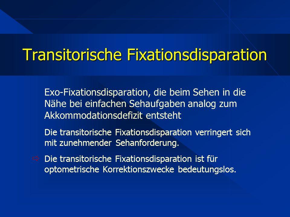 Exo-Fixationsdisparation, die beim Sehen in die Nähe bei einfachen Sehaufgaben analog zum Akkommodationsdefizit entsteht Die transitorische Fixationsd