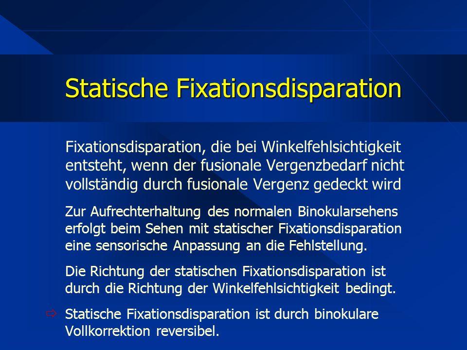 Fixationsdisparation, die bei Winkelfehlsichtigkeit entsteht, wenn der fusionale Vergenzbedarf nicht vollständig durch fusionale Vergenz gedeckt wird