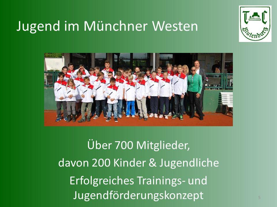Spitzensport im Münchner Westen 6 Nationales Jugendturnier der A-Kategorie (200 TN) mit Preisgeldern von € 4000.- 30 Mannschaften mit Top-Spielern / DTB-Ranglistenspielern